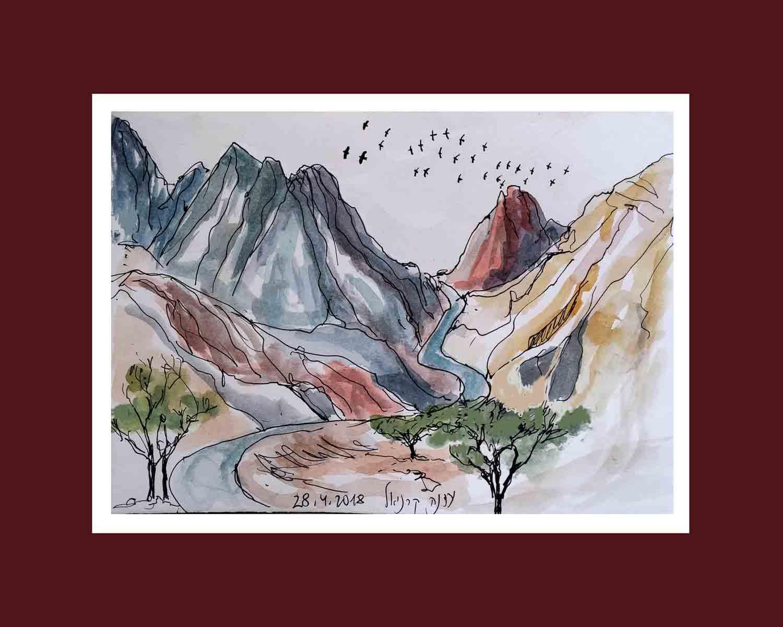 עדנה קרניאל-כביש מתפתל מתחת להר שלמה ועיטים בשמים