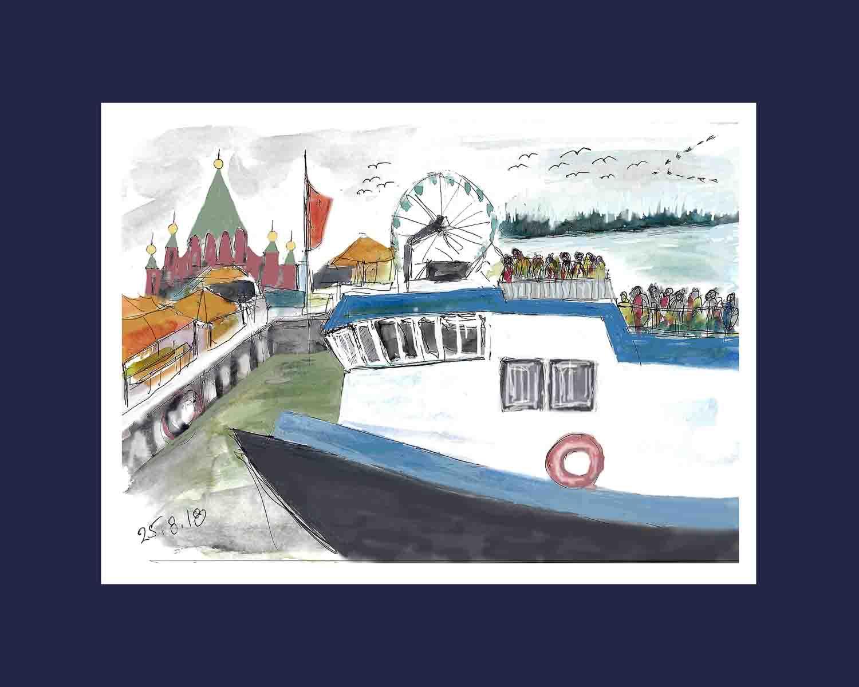 עדנה קרניאל 2018 -ספינת מעבורת בנמל הלסינקי בדרכנו לאיים